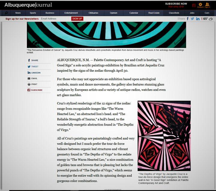 About the artist Albuquerque Journal - Jaqueline M  Cruz
