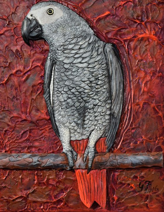 African Grey Parrot - 3DLeatherart