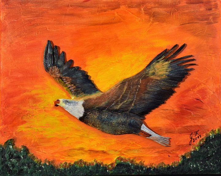 Golden Eagle in Sunset - 3DLeatherart