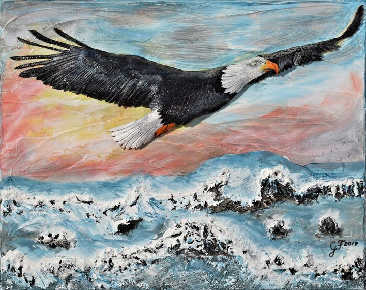 Morning Flight Over Choppy Seas - 3DLeatherart