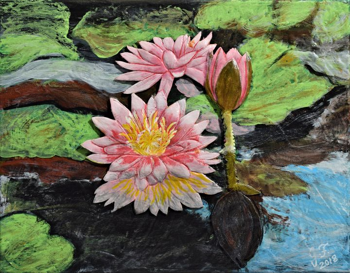Pink Water Lilies in Pond - 3DLeatherart