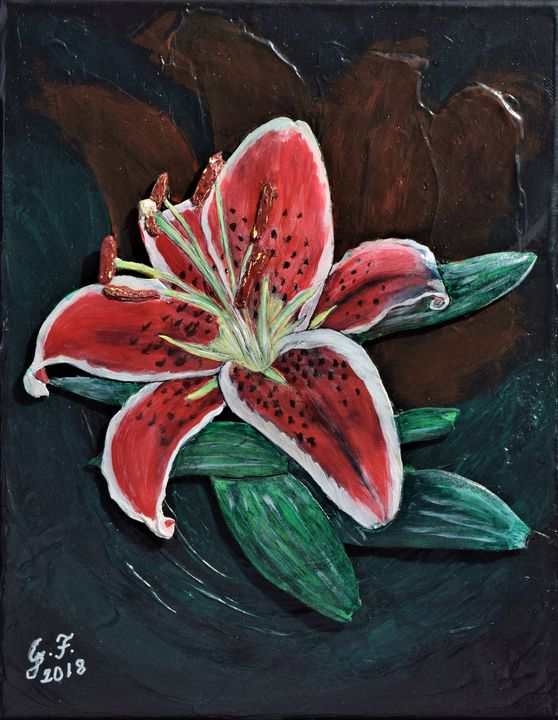 Bold Red Lily Beauty - 3DLeatherart