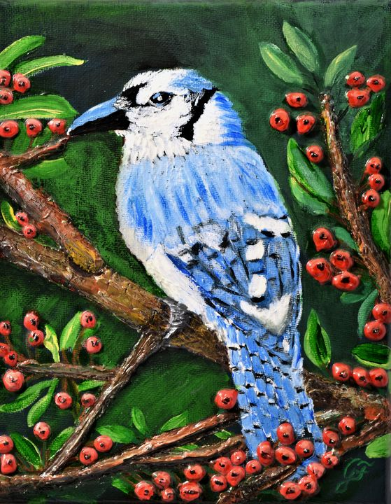Bluebird with Red Berries - 3DLeatherart