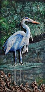 Blue Heron in Pond - 3DLeatherart