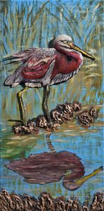 Red Heron in Reed - 3DLeatherart