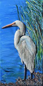 White Heron looking for Breakfast - 3DLeatherart