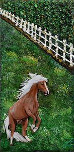 Playful Palomino Stallion in Pasture - 3DLeatherart