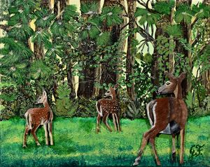 Doe with two Fawns - 3DLeatherart