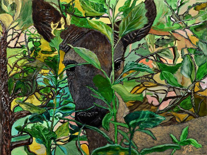 Deer hiding behind Leaves - 3DLeatherart