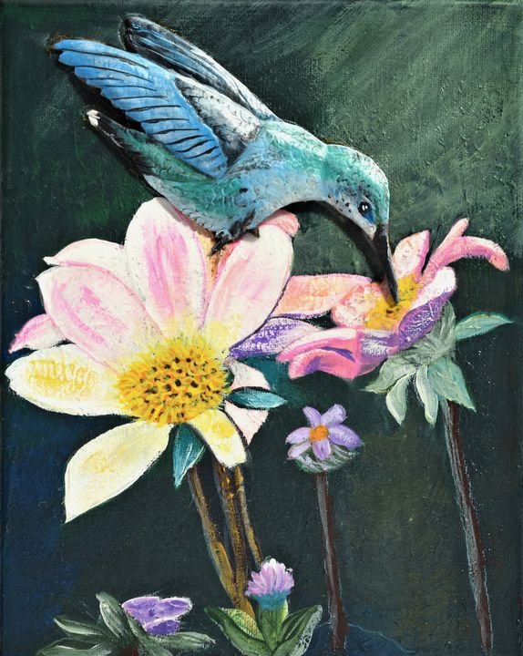 Hummingbird Feeding Time - 3DLeatherart