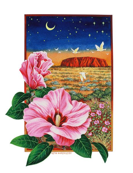 Desert Rose at Sunset Uluru - kateburnessart