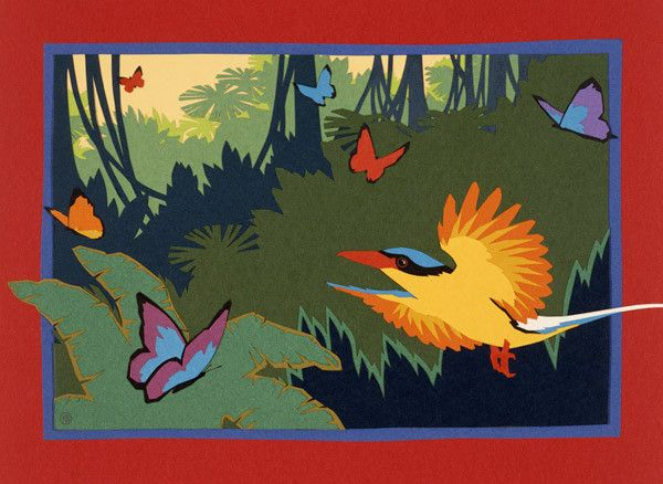 Kingfisher and Butterflies - kateburnessart
