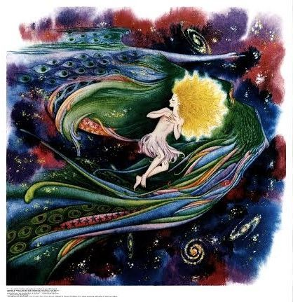 Silver Girl and the Silk Starbird - kateburnessart