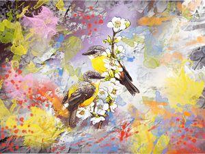 Two birds on cherry blossom branch