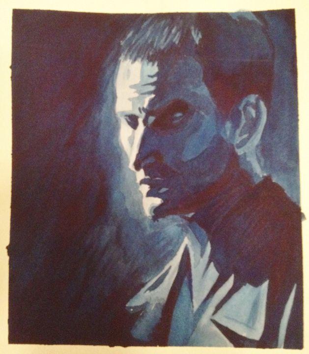 Christopher Eccleston in Blue - Fan Art - Watercolors