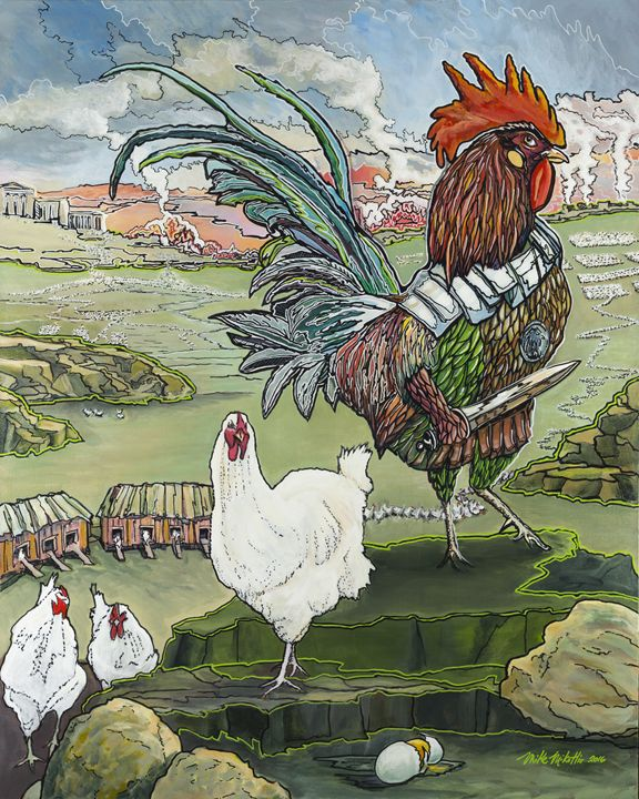 A Rooster Dreams of Justice - Mike Mikottis Artworks