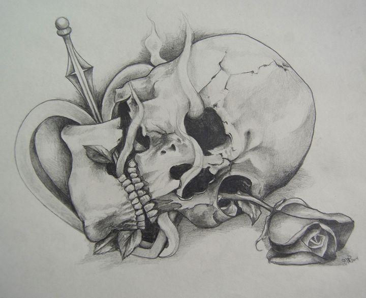 Skull on Heart - Jessica D Perez