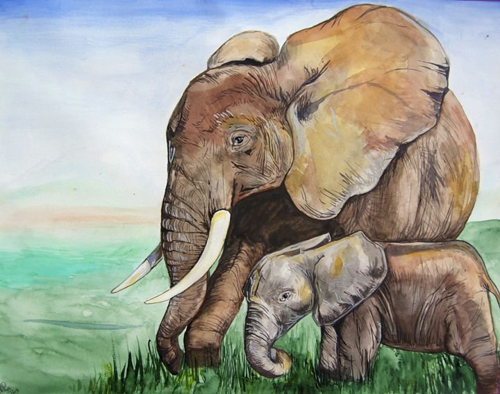 Parent and baby elephant - Jessica D Perez