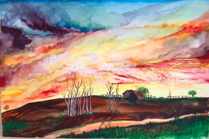 Stream and Sunset, Watercolor - Jessica D Perez