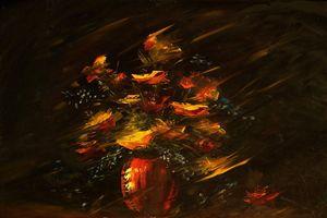 Dark Bouquet. Original Oil Painting.