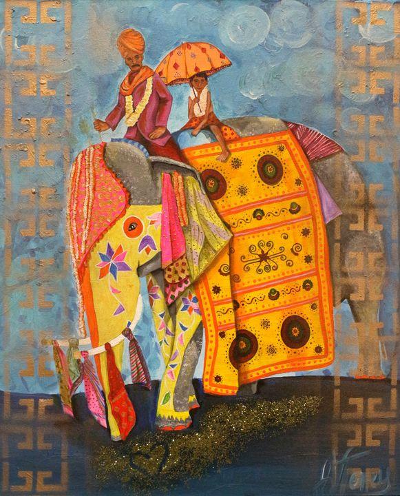 Elephant Ride - Art By Josie V Toney