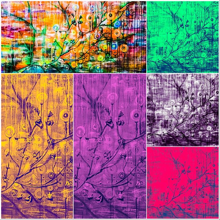 Raining Blossoms Collage - Art By Josie V Toney