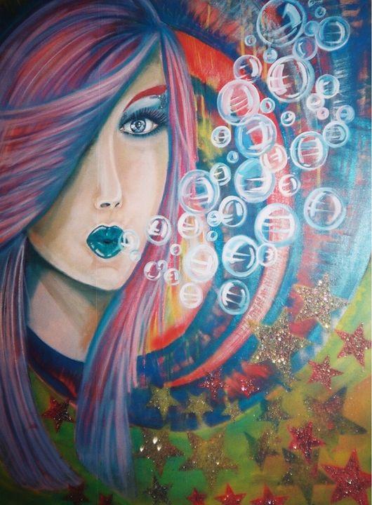 Bubble Girl - Art By Josie V Toney