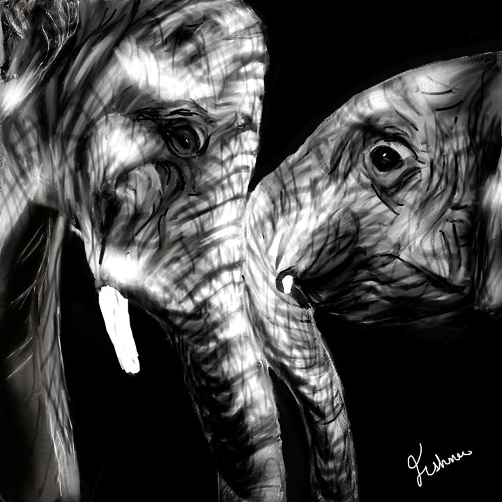 Elephants Digital Painting - Jishnu