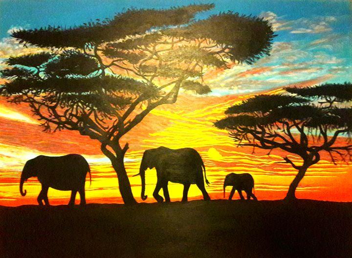 Mastodon Sunset - KFMConcepts Art Gallery