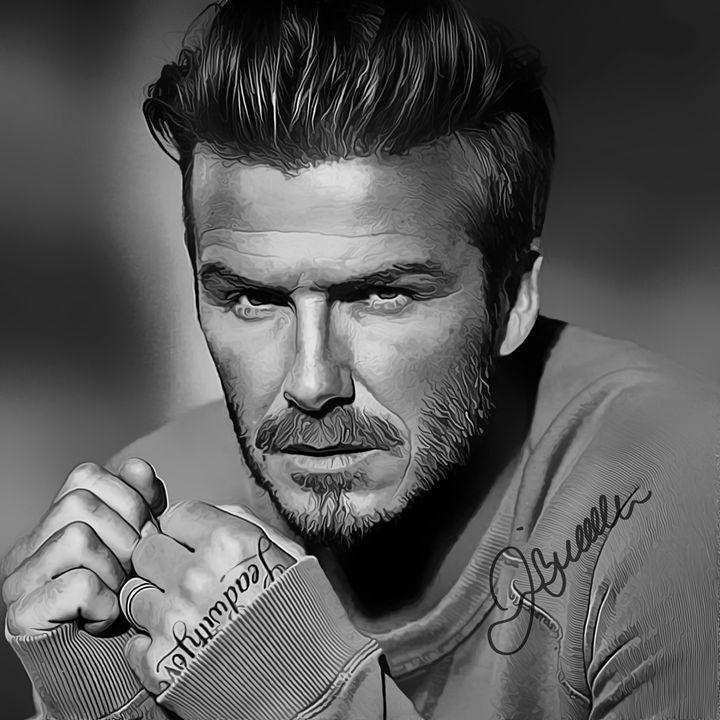 David Beckham Art with Autograph - Keith Charlton