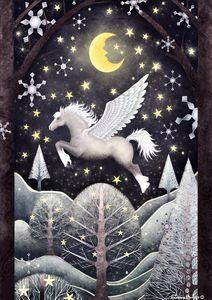 Midnight Winter Pegasus Flying Horse