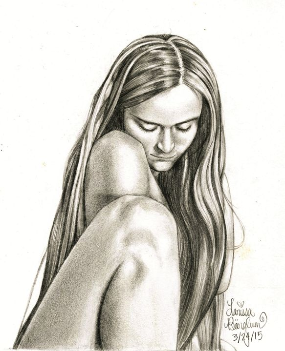 Self-Portrait Gazing Downward - Larissa Børglum, Artist