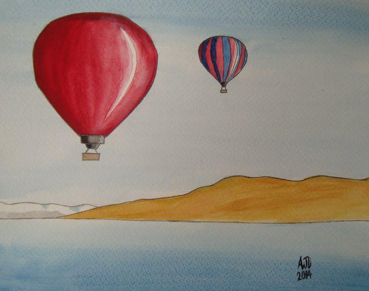 Hot air balloons over an alpine lake - Adam Darlingford