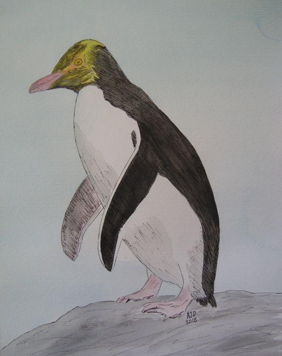 Yellow Eyed Penguin on a rock - Adam Darlingford