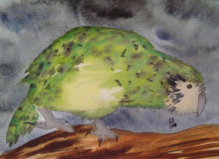 Kakapo on a log - Falcon Peak Gallery