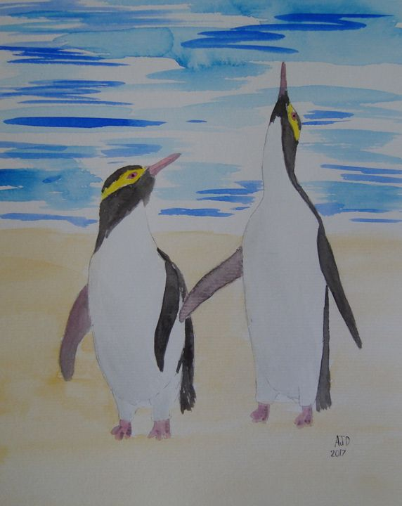 Two yellow eyed penguins - Adam Darlingford