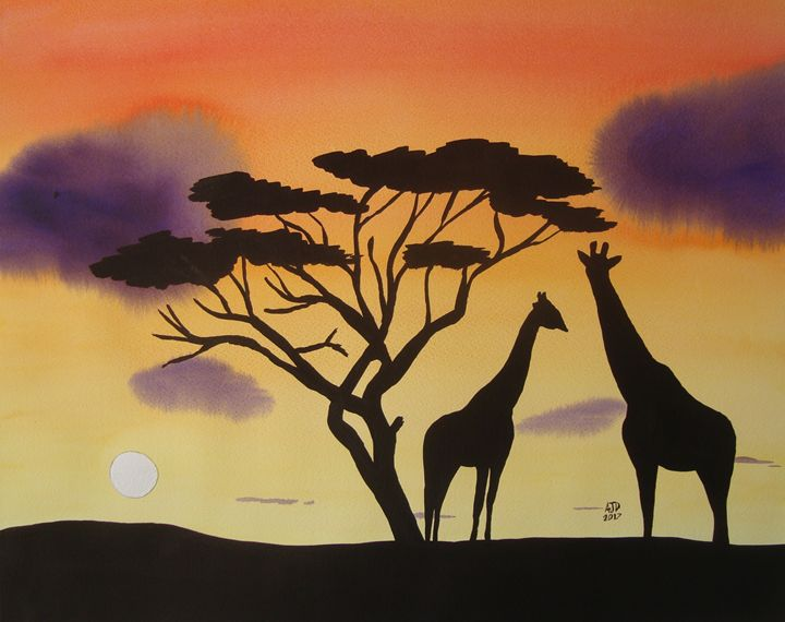 Two Giraffes at Dusk - Adam Darlingford