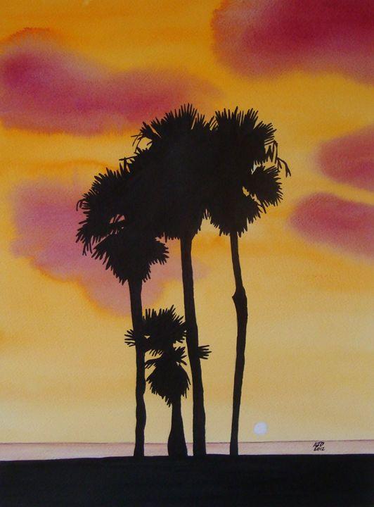 Palm Trees at Dusk, Santa Monica - Adam Darlingford