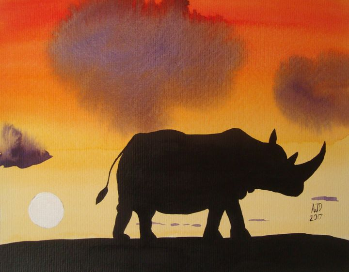 Rhino at twilight - Falcon Peak Gallery