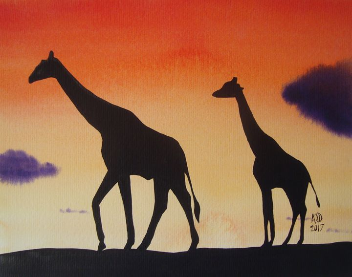 Giraffes at twilight - Adam Darlingford