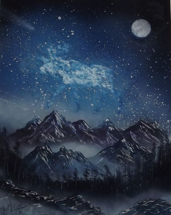 Moose Stars #10 - Rattle Can Spray Paint Art: By Mark Loehr