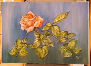 The red rose, oil painting, canvas