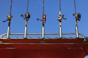 Fishing rods in holders