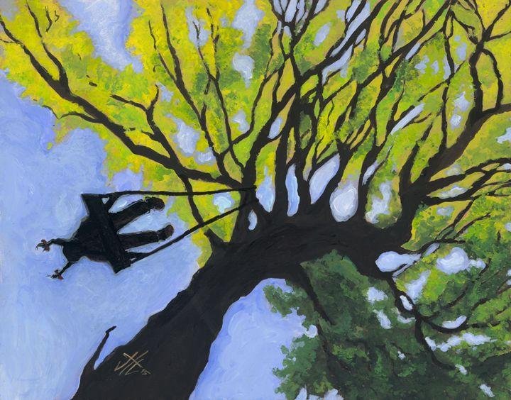 Girl in a Tree Swing - Jo Shmo Art