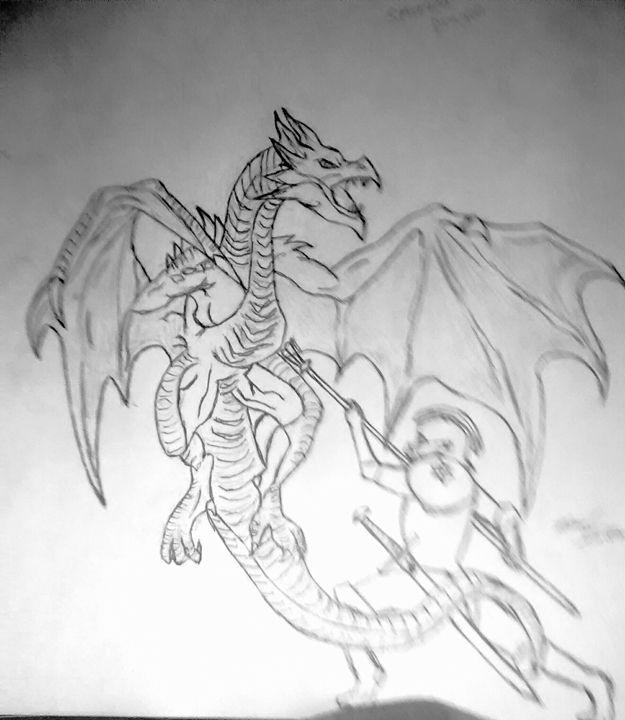 Knight battling a dragon - PITBULL