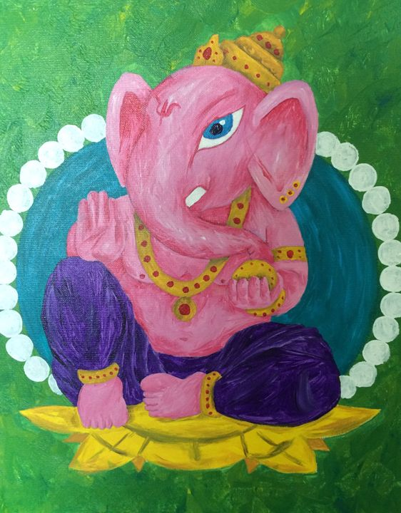 Contemporary Ganesh Acrylic Painting - Kellie Webb's artwork