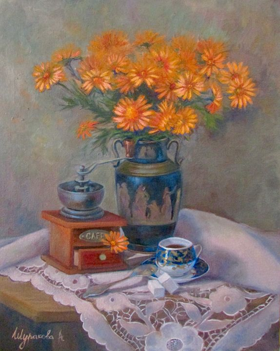 Still life with blue cup. - Anna Shurakova  Paintings