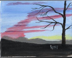 Mountain Sunset On Canvas