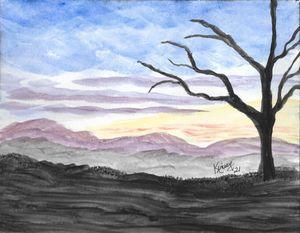 Dark Mountain Tree Sunset
