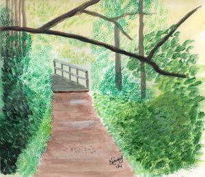 Black Creek Park Footpath Watercolor
